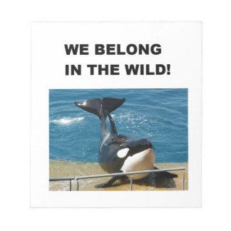 Orca pertenecemos en el diseño salvaje blocs de notas