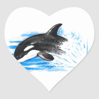 Orca Playing Heart Sticker