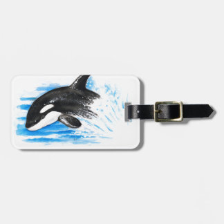 Orca Playing Luggage Tag