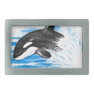 Orca Playing Rectangular Belt Buckle