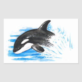 Orca Playing Rectangular Sticker