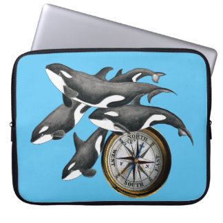 Orca Pod and Compass Computer Sleeve