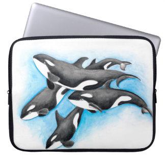 Orca Pod In Blue Laptop Sleeve