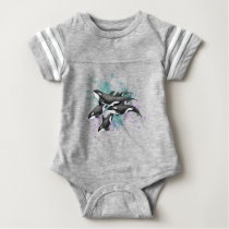 orca pod splash color baby bodysuit