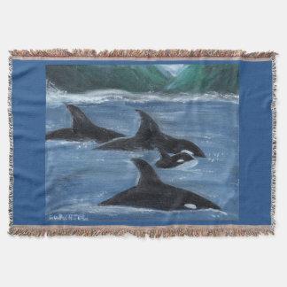 Orca pod throw blanket