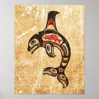 Orca roja y negra agrietada del alcohol del Haida Posters