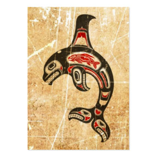 Orca roja y negra agrietada del alcohol del Haida Tarjetas De Visita Grandes