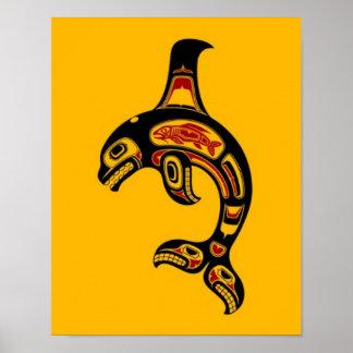 Orca roja y negra del alcohol del Haida en amarill Posters