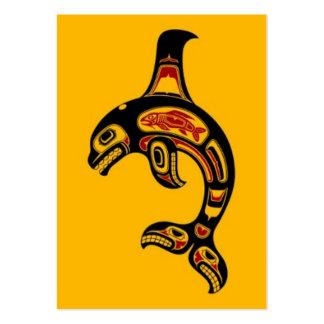 Orca roja y negra del alcohol del Haida en amarill Tarjetas De Visita Grandes