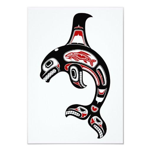 Orca roja y negra del alcohol del Haida Anuncios Personalizados