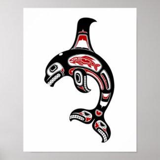 Orca roja y negra del alcohol del Haida Impresiones