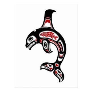 Orca roja y negra del alcohol del Haida Tarjetas Postales