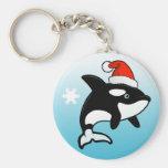 Orca Santa Basic Round Button Keychain
