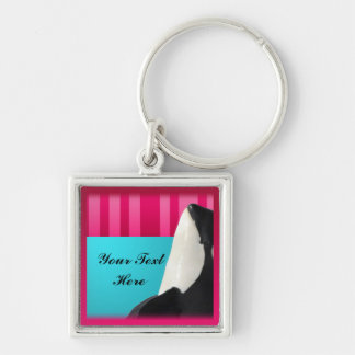 Orca Spy Hop Sea Pink & Red Stripes -Your text Keychain