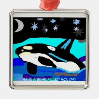 Orca Star filled Christmas Metal Ornament