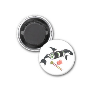 Orca sushi! 1 inch round magnet