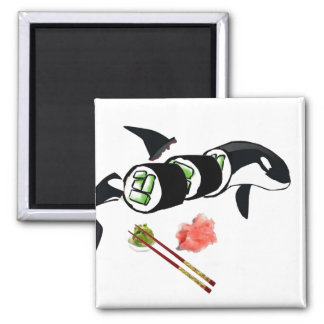 Orca sushi! 2 inch square magnet