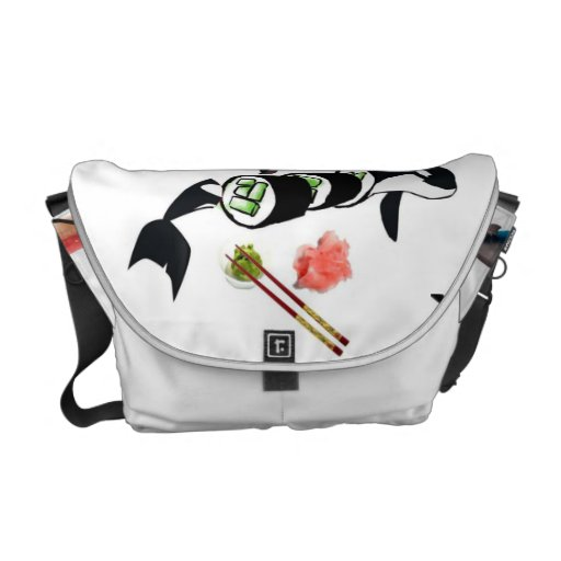 Orca sushi! messenger bags