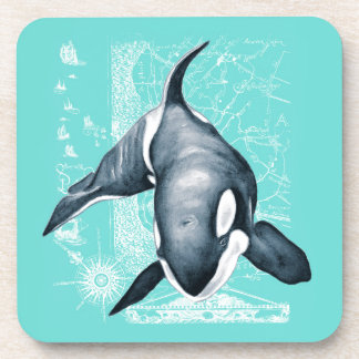 Orca Teal White Coaster