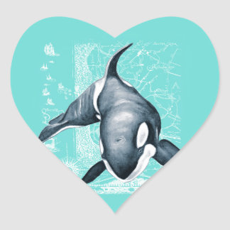 Orca Teal White Heart Sticker