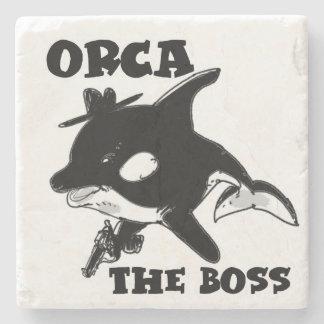 orca the boss cartoon style funny illustration stone coaster