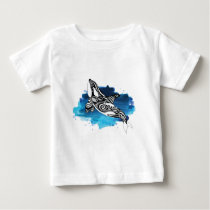 Orca Tribal Doodle Blue Watercolor Baby T-Shirt
