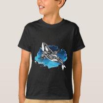Orca Tribal Doodle Blue Watercolor T-Shirt