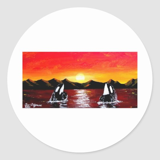 ORCA TWIN WHALES AT SUNSET CLASSIC ROUND STICKER