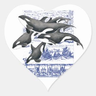 Orca Vintage Map II Heart Sticker