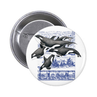 Orca Vintage Map II Pinback Button