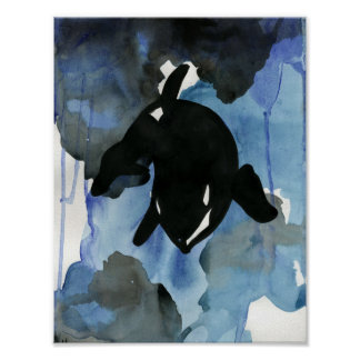 Orca Watercolor Art Poster