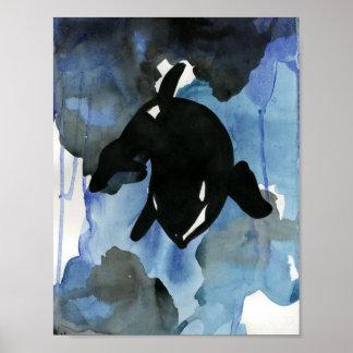 Orca Watercolor Art Poster