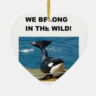 Orca we belong in the wild design ceramic ornament