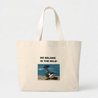 Orca we belong in the wild design jumbo tote bag