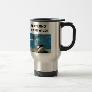 Orca we belong in the wild design 15 oz stainless steel travel mug