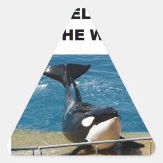 Orca we belong in the wild design triangle sticker