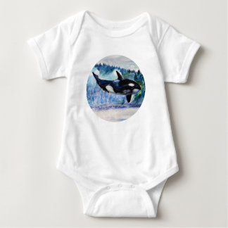 Orca Whale Art Baby Bodysuit