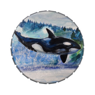 Orca Whale Art Snip Snap Tin Candy Tins