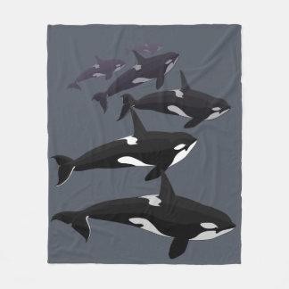 Orca Whale Blanket Killer Whale Fleece Blankets