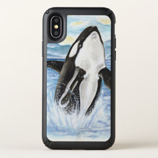 Orca Whale Breaching Watercolor Speck iPhone X Case