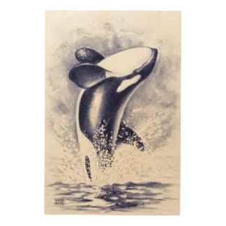 Orca Whale Breaching Wood Wall Art