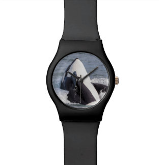 Orca whale breaching wrist watch