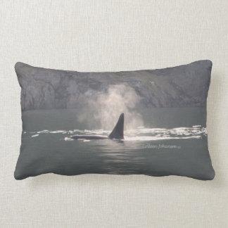 Orca Whale Breath Mist San Juan Island Throw Pillow