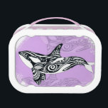 """Orca Whale Brushed Tribal Pink Doodle Lunch Box<br><div class=""""desc"""">orca whale art</div>"""