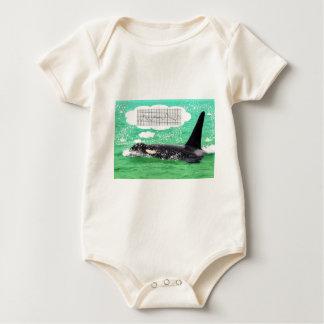 Orca Whale Christmas Green Sea Merry Christmas Baby Bodysuit