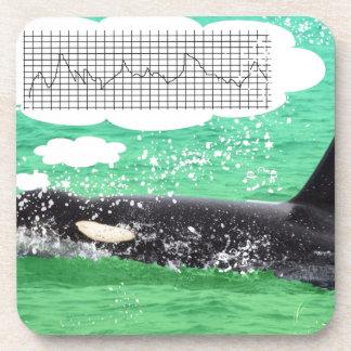 Orca Whale Christmas Green Sea Merry Christmas Beverage Coaster