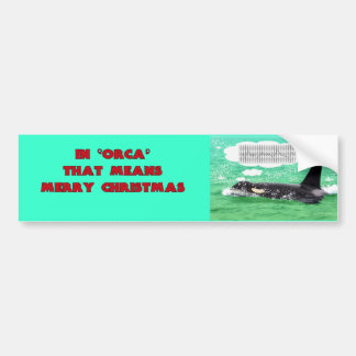 Orca Whale Christmas Green Sea Merry Christmas Bumper Sticker