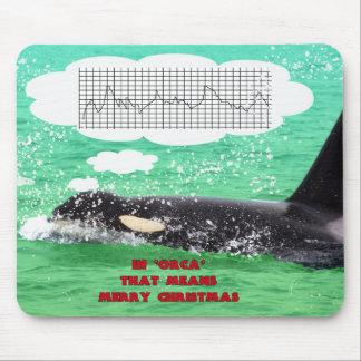 Orca Whale Christmas Green Sea Merry Christmas Mouse Pad