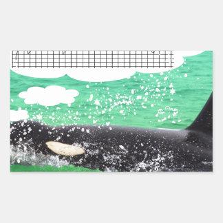 Orca Whale Christmas Green Sea Merry Christmas Rectangular Sticker