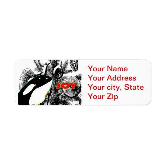 Orca Whale Christmas Return Address Sticker